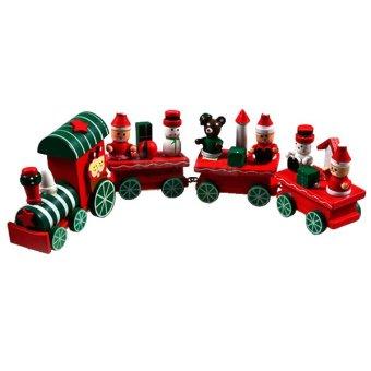 OEM 4 Piece little train Wood Wooden Christmas Xmas Train Ornament Home Decor (Intl)