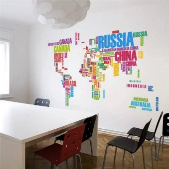 Orange Tag Colourful World Map Wall Decal Wall Sticker