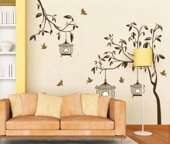 OrangeTag Brown Tree with Cage Wall Sticker Wall Decal