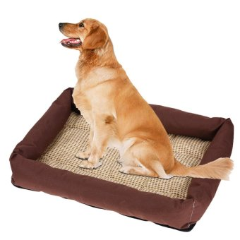 Oxford Cloth Pet Bed Cushion Dog Summer Cooling Pad Mat(Brown S) -intl - 3