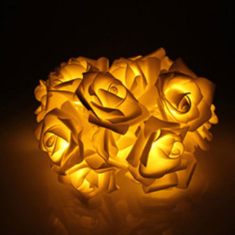 PAlight 220V EU Plug 10 LED Rose Flower String Lights Fairy WeddingParty Christmas Decoration (color:Yellow) - intl
