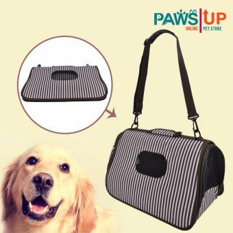 Paws UP Portable Foldable Dog Cat Pet Carrier Travel Bag CageStripes design( black/white)