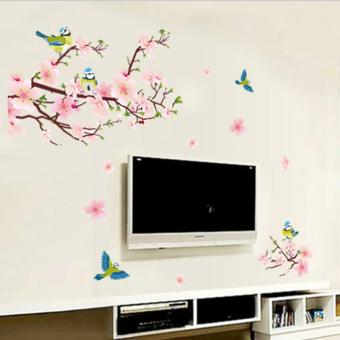 Peaches Flowers Magpie Birds Petals Wall Decal Home Sticker PVCMurals Paper House Decoration Wallpaper Living Room Bedroom ArtPicture for Kids Teen Senior Adult Baby - intl - 5