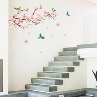 Peaches Flowers Magpie Birds Petals Wall Decal Home Sticker PVCMurals Paper House Decoration Wallpaper Living Room Bedroom ArtPicture for Kids Teen Senior Adult Baby - intl - 2