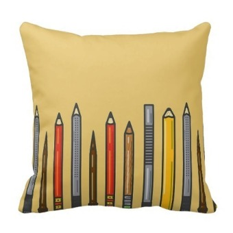 Pencils Suede Nap Double-Side Printing Pillow Case Cover(Yellow)