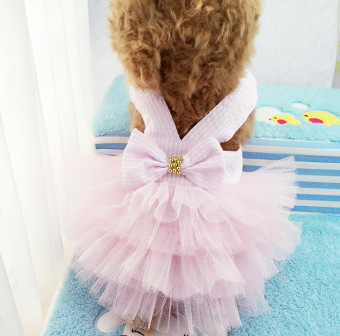 Pet Dogs Bubble Skirt with Bowknot Princess Dress pink - intl
