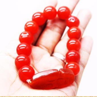 Pi Xiu Agate Dragon Feng Shui Charms Money Catching Bracelet Size Small (Red)