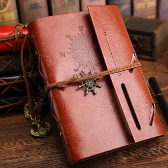 Pirate Anchor Travel Diary Nautical Vintage Style PU Cover Notebook- intl