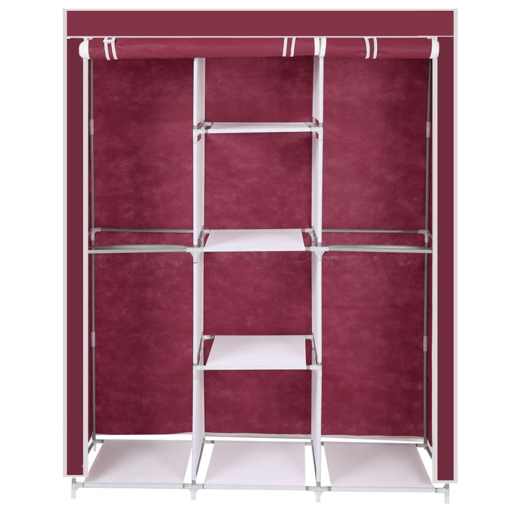 ... Portable Clothes Storage Closet With Shelves (MAROON) ...