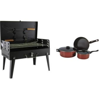 Portable Folding Barbecue Grill with Barbecue Utensils With DazzleColor Non-Stick Pan 5 Piece Set