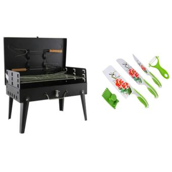 Portable Folding Barbecue Grill with Barbecue Utensils WithStainless Steel Non Stick Flower Printing Ceramic Knife Set of 5