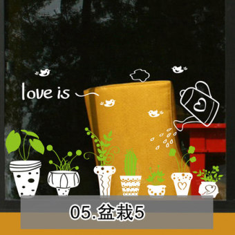Potted self-sticky paper living room shop wall sticker flower pot