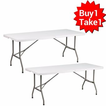 Primetime 6 Ft. Rectangular Fold-in-Half Multi-purpose Folding Plastic Table (Pure White) Buy 1 Take 1