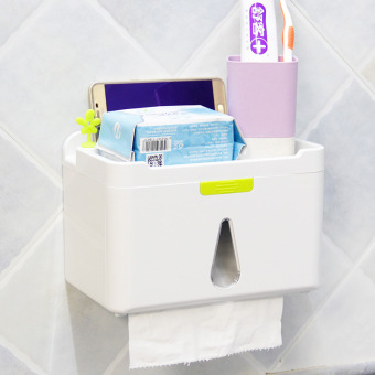 Punched suction wall pumping tray toilet paper holder tissue box