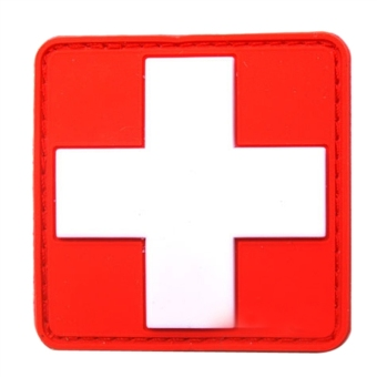 PVC Red Cross Rescue Morale Velcro Patch Embroidered Sew Badge(White)
