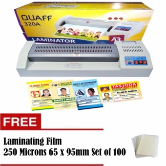 Quaff A3 Laminator Heavy Duty Laminating Machine with FreeLaminating Film 250 Microns 65x95mm Set of 100