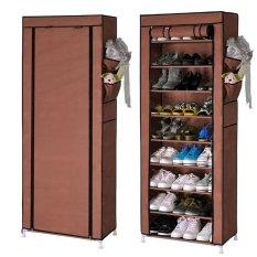 Quality 10 Layer 9 Grid Shoe Rack Storage Shelf Organizer Cabinet Cover Pockets Coffee