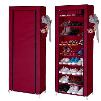 Quality 10 Layer 9 Grid Shoe Rack Storage Shelf Organizer Cabinet Cover Pockets (Maroon)