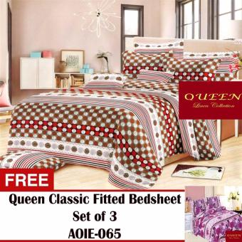 Queen Classic Linen Collection Fitted Bedsheet Set of 3(AOIE-060) with Free Queen Classic Linen Collection Fitted Bedsheet Set of 3(AOIE-065)