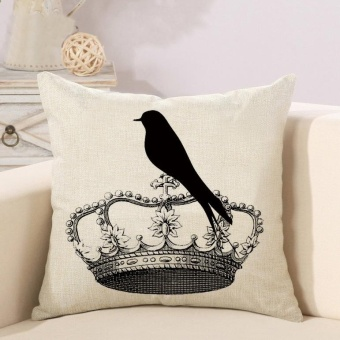 Ready Stock Crown Pattern Printed Linen Pillowcases Home Decor Car Sofa Cushion Covers - intl