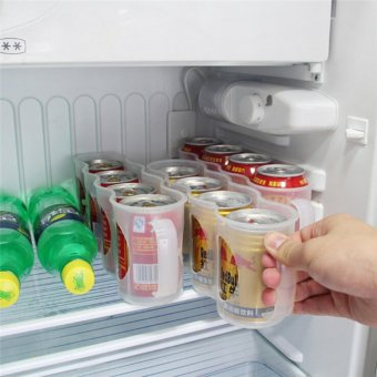 Refrigerator Drink Can Kitchen Storage Box Space-saving Holder RackOrganizer Clear - intl