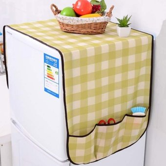 Refrigerator Dust Proof Cover Pastoral Fridge Lattice Stylecolor:White & Red - intl