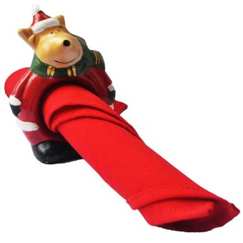 Reindeer Santa Claus Napkin Ring / Tissue Holder for table setting Figurine for the Holiday (Made of Fiberglass Resin) by Everything About Santa (Christmas decoration and gift suggestion)