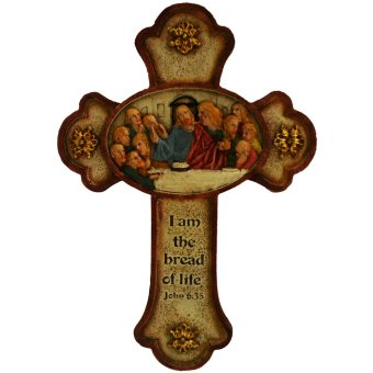 "Religious Item ""I am the bread of life"" Last Supper Cross Jesus Christ with Twelve Apostles Wall Cross (Made of Fiberglass Resin) by Everything About Santa (Christmas decoration and gift suggestion)"