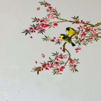 Removable Beautiful Flower Tree Birds Wall Sticker Vinyl Home DecorArt Decals - intl