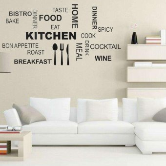 Removable PVC KitchenEnglish Words Vinyl Wall Sticker Art Home RoomDecoration - intl