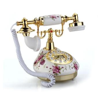 Retro Vintage Antique Style Floral Ceramic Home Decor DeskTelephone Phone