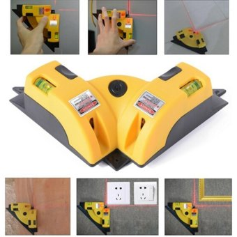 Right Angle 90 degree Vertical Horizontal Laser Line jection SquareLevel Laser Yellow - intl
