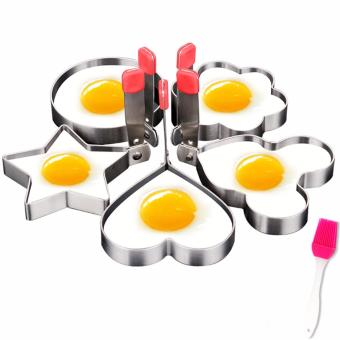 Rising Star 4pcs Set Stainless Steel Pancake Mould Kitchen FriedEgg Shaper Cooking Tools Free BBQ Brush - 2