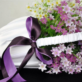 Romantic Wedding Ceremony Flower Girl Basket Satin Bowknot Decor - picture 2