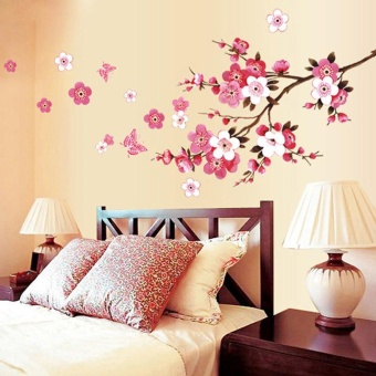 Room Peach Blossom Flower Butterfly Wall Stickers Vinyl Art DecalsDecor Mural - intl