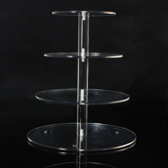 Round Acrylic 4 Tier Cupcake Cake Stand For Birthday Celebration Party Cake Shop - 2