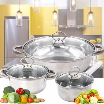 RUIAO 3pcs High Grade Stainless Steel  Almighty Three Sets of Pots