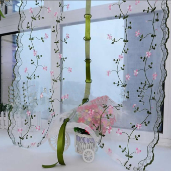 Rural Style Embroidered Floral Shade Sheer Door Cafe Kitchen Window Curtain - 4