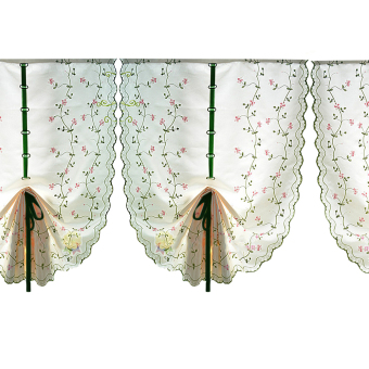 Rural Style Embroidered Floral Shade Sheer Door Cafe Kitchen Window Curtain