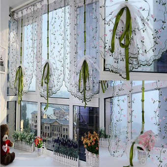 Rural Style Embroidered Floral Shade Sheer Door Cafe Kitchen Window Curtain - 5