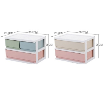 RuYiYu - 38.7 x 25.7 x 26cm, Multi Purpose Desktop Drawer UnitOrganizer,Bedroom 2 Layers Design Storage Box Container CabinetColorful - intl - 2