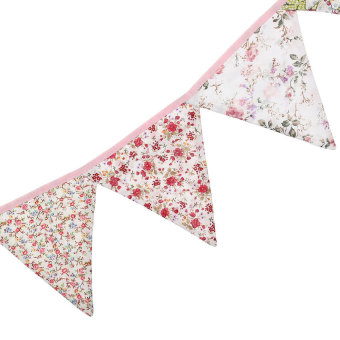 S & F 12 Flags Floral Print Cotton Fabric Bunting Birthday Tea Party Home Decoration (Intl) - picture 2