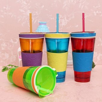 S & F 2 in1 Travel Snack Drink Cup Bottle Container Lid Straw (Multicolor) (Intl) - picture 2