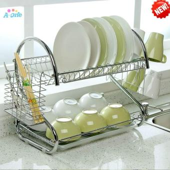S-Shaped Dish Rack Set 2-Tier Chrome Stainless Plate Dish CutleryCup Rack With Tray Steel Drain Bowl Rack Kitchen Shelf