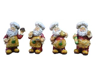 Santa Claus Chef Baker for Kitchen Figurines Set of 4 Figurine for the Holiday (Made of Fiberglass Resin) by Everything About Santa (Christmas decoration and gift suggestion)