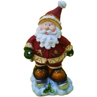 Santa Claus Ski with 2 ski poles in snow Christmas figurine (Made of Fiberglass Resin) by Everything About Santa (Christmas decoration and gift suggestion)
