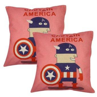 Set of 2 Cotton Linen Canvas Home Decorative Pillow Case Throw Pillow Cushion Cover 17 x 17 inches Captain America