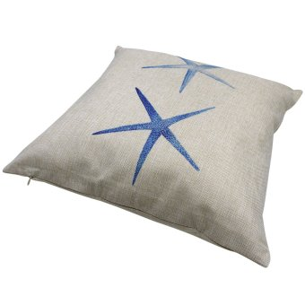 Set of 2 Cotton Linen Canvas Home Decorative Pillow Case ThrowPillow Cushion Cover 17 x 17 inches Starfish Design - 3