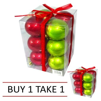 Set of 2 Modern Christmas Decor Ball 12 pcs. (Red/Green)
