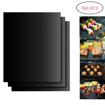 Set of 3 BBQ Grill MatsNon-Stick Reusable and Heat Resistant BBQ Oven Liner Baking Mat Easy to Clean Perfect for Charcoal Electric and Gas Grill Essential Grilling Accessories for Home Cooks and Grillers - intl